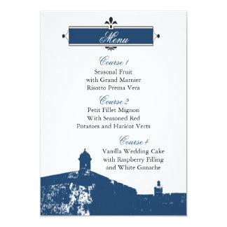 Castillo de San Cristobal wedding menu cards