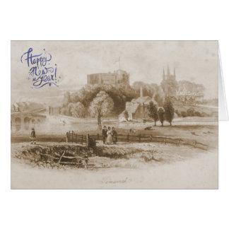Castillo de Tamworth y tarjeta de la Feliz Año