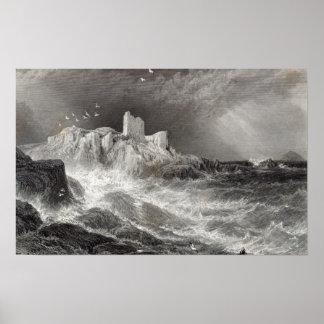 Castillo de Turnbury, grabado por S. Bradshaw Póster