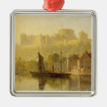 Castillo de Windsor del Thames (aceite en cartón p Ornaments Para Arbol De Navidad