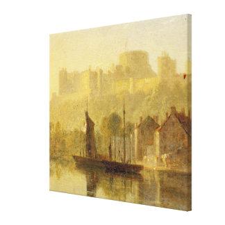 Castillo de Windsor del Thames (aceite en cartón p Impresiones En Lienzo Estiradas