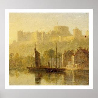 Castillo de Windsor del Thames (aceite en cartón p Póster