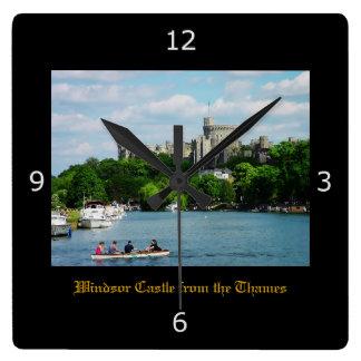 Castillo de Windsor del Thames Reloj Cuadrado