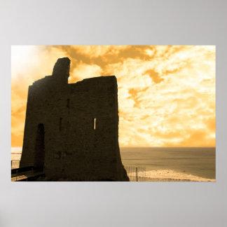 castillo del ballybunion en la puesta del sol impresiones
