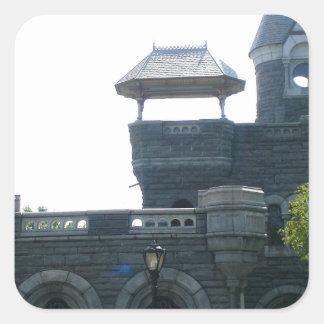 Castillo del belvedere de NYC Pegatina Cuadrada