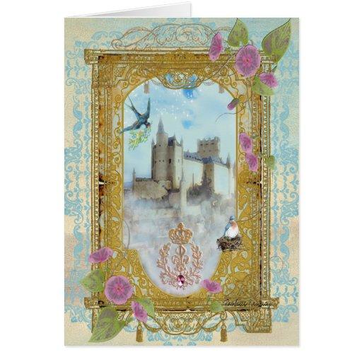 Castillo del cuento de hadas en la tarjeta de feli