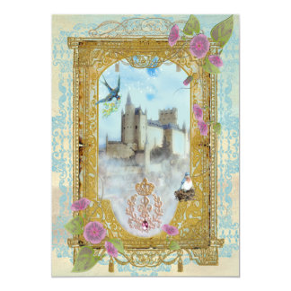 Castillo del cuento de hadas en las invitaciones invitación 12,7 x 17,8 cm