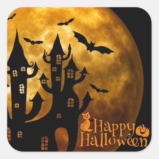 Castillo del feliz Halloween y Luna Llena Pegatina Cuadrada