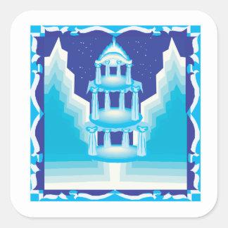 Castillo del hielo pegatina cuadrada
