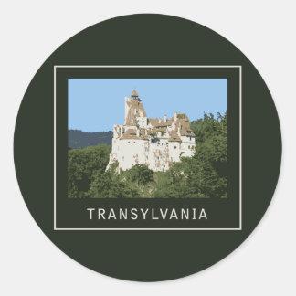 Castillo del salvado de Transilvania Pegatina Redonda