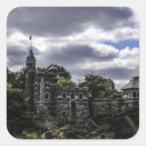 Castillo en Central Park, foto del belvedere de NY Pegatinas Cuadradas