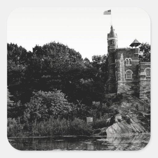 Castillo en Central Park, foto del belvedere de NY Calcomanía Cuadradas Personalizadas
