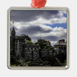Castillo en Central Park, Nueva York del belvedere Adorno Cuadrado Plateado