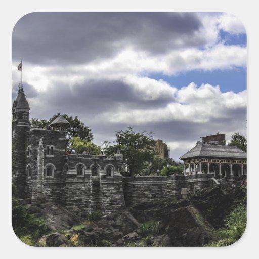 Castillo en Central Park, Nueva York del belvedere Pegatina Cuadradas Personalizada