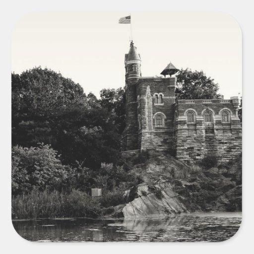 Castillo en Central Park, NYC del belvedere Calcomania Cuadradas Personalizada