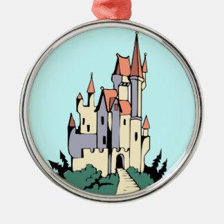 Castillo en colores pastel del cuento de hadas adorno de navidad