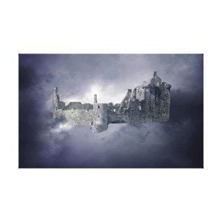 Castillo en el cielo lienzo envuelto para galerias
