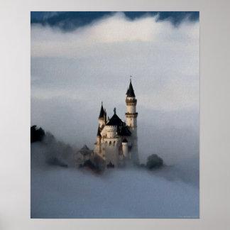 Castillo en el poster de las nubes