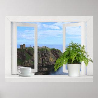 Castillo en Escocia -- Opinión de ventana abierta  Posters