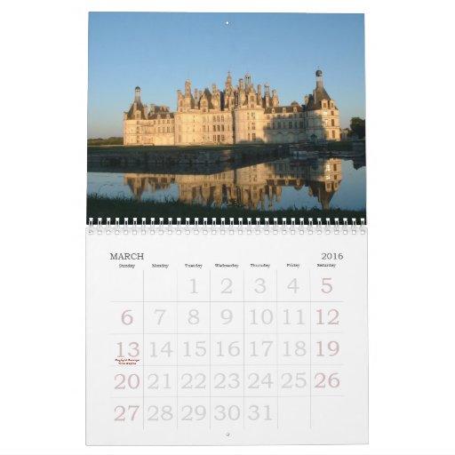 Castillo en Europa y Japón Calendario De Pared
