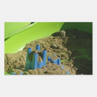castillo en la arena rectangular pegatina