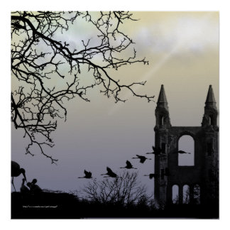 Castillo en la impresión gótica del paisaje de la  impresiones