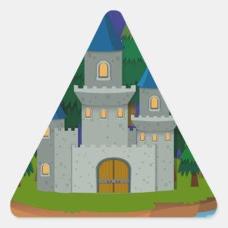 Castillo en la isla pegatina triangular