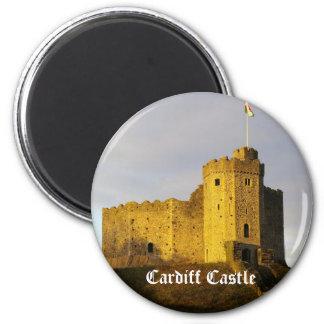 Castillo en la puesta del sol imán redondo 5 cm