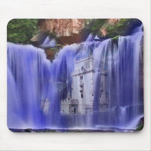 Castillo en una cascada, mousepad tapetes de ratones