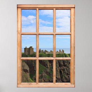 Castillo escocés por la vista al mar de una ventan posters