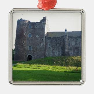 Castillo Escocia de Doune Adorno Navideño Cuadrado De Metal