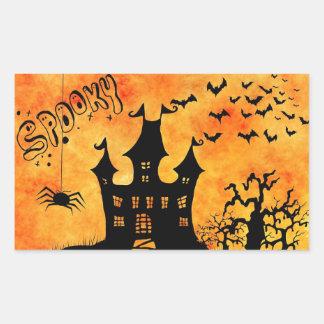 Castillo fantasmagórico del feliz Halloween Pegatina Rectangular