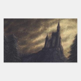 castillo fantasmagórico Halloween Pegatina Rectangular