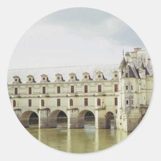 Castillo francés Chenonceau el valle del Loira F Pegatinas Redondas