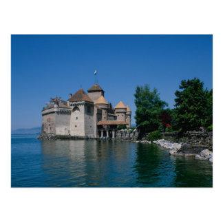 Castillo francés Chillon, cantón del lago Lemán, Postal