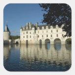 Castillo francés de Chenonceau, río Cher, Pegatina Cuadrada