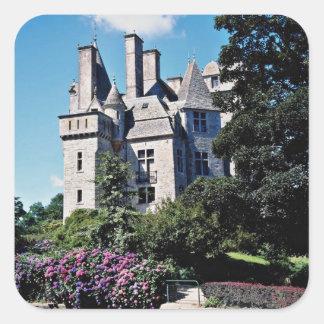 Castillo francés de Tourlaville, flores de Francia Pegatina Cuadrada
