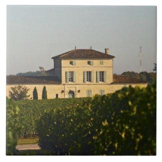Castillo francés Lafleur Petrus y viñedo, en Pomer Azulejo Cuadrado Grande