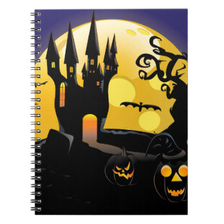Castillo frecuentado de Halloween Libro De Apuntes Con Espiral