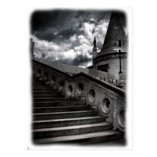 Castillo gótico blanco y negro Halloween RECVERT Postales