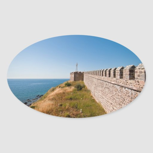 Castillo histórico en Babakale, Turquía Pegatinas Ovaladas Personalizadas
