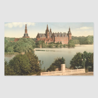 Castillo I, Copenhague, Dinamarca de Pegatina Rectangular
