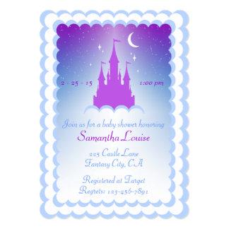 """Castillo ideal azul púrpura en la fiesta de invitación 5"""" x 7"""""""