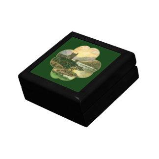 Castillo irlandés del vintage dentro de un trébol caja de recuerdo
