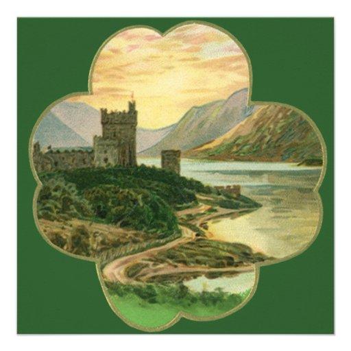 Castillo irlandés del vintage dentro de un trébol  anuncios personalizados