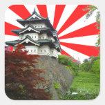 Castillo japonés calcomanías cuadradass personalizadas