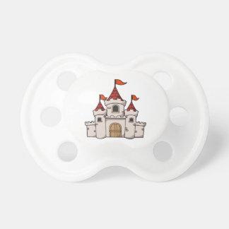 Castillo medieval del dibujo animado rojo y blanco chupetes de bebé