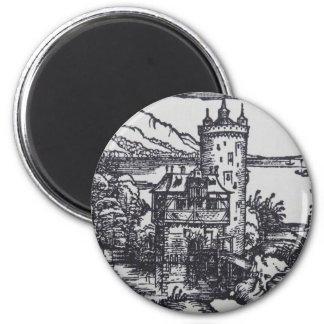 Castillo medieval imán redondo 5 cm
