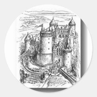 Castillo medieval pegatina redonda