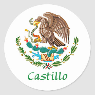 Castillo Mexican National Seal Round Stickers